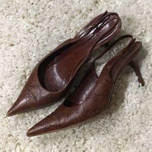 Vintage GG monogram logo sling back heels